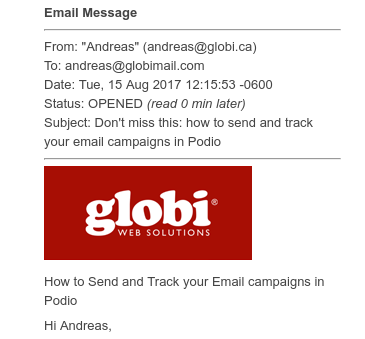 Sending Beautiful Newsletters from Podio with GlobiFlow and